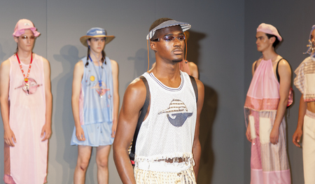 sq: New York, NY, USA - July 15, 2015: Models pose at the Gypsy Sport The Jade Helm Collection presentation by Rio Uribe during New York Fashion Week: Mens SS 2016 at Skylight Clarkson Sq, Manhattan