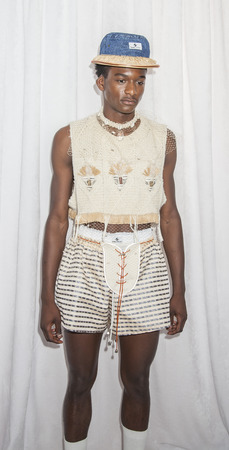 sq: New York, NY, USA - July 15, 2015: A model poses on backstage at the Gypsy Sport The Jade Helm Collection presentation by Rio Uribe during New York Fashion Week: Mens SS 2016 at Skylight Clarkson Sq, Manhattan