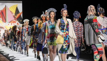 New York, NY, USA - September 10, 2015: Models walk the runway at the Desigual runway show during of Spring 2016 New York Fashion Week at The Arc, Skylight at Moynihan Station, Manhattan.  #CFDANYFW, #NYFW,