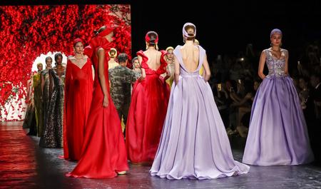 khan: New York, NY, USA - September 16, 2015: Models walk the runway at Naeem Khan runway show during of Spring 2016 New York Fashion Week at The Arc, Skylight at Moynihan Station, Manhattan.  #CFDANYFW, #NYFW, #NAEEMKHAN Editorial