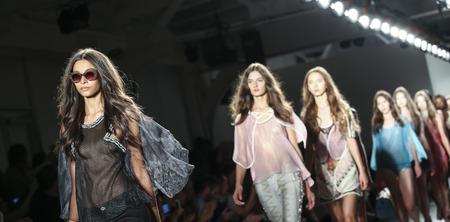fabric: New York, NY, USA - September 11, 2015: Models walk the runway for Custo Barcelona SpringSummer 2016 SLOW runway show during of Spring 2016 New York Fashion Week at Pier 59 Studios Chelsea Piers, Manhattan.  #CFDANYFW, #NYFW, #CUSTOBARCELONA Editorial