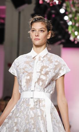 New York, NY, USA - September 14, 2015: A model walks the runway at Lela Rose runway show during of Spring 2016 New York Fashion Week at The Gallery, Skylight at Skylight Clarkson Sq., Manhattan.  #CFDANYFW, #NYFW, #lelarose