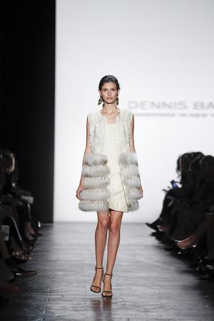 New York, NY, USA - September 15, 2015: A model walks the runway at Dennis Basso runway show during of Spring 2016 New York Fashion Week at The Arc, Skylight at Moynihan Station, Manhattan Redakční