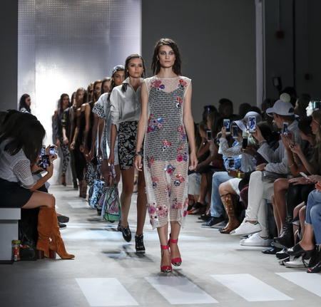 New York, NY, USA - September 11, 2015: Models walk the runway at Nicole Miller runway show during of Spring 2016 New York Fashion Week at The Gallery, Skylight Clarkson Sq., Manhattan.  #CFDANYFW, #NYFW, #NICOLEMILLER,