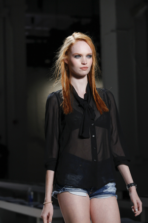 miller: New York, NY, USA - September 11, 2015: A model walks the runway rehearsal at Nicole Miller runway show during of Spring 2016 New York Fashion Week at The Gallery, Skylight Clarkson Sq., Manhattan.