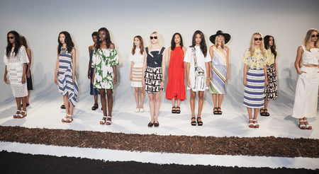 whit: New York, NY, USA - September 9, 2015: Models pose for the WHIT Spring 2016 collection presentation during New York Fashion Week SpringSummer 2016 at Pier 59, Manhattan.