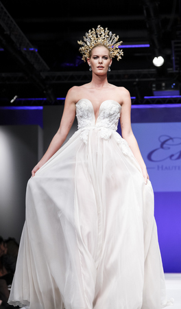 runway fashion: New York, NY, USA - October 11, 2015: A model walks runway for Israel Bridal couturier Ester 2016 Bridal Collection during New York International Bridal Week at the Fashion Theater, Pier 94, Manhattan Editorial