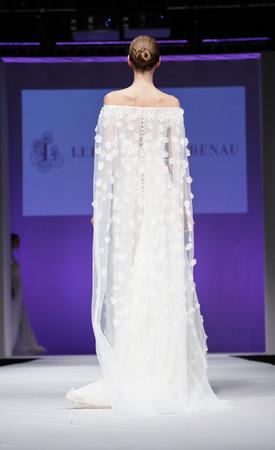 New York, NY, USA - October 11, 2015: A model walks runway for Israel Bridal couturier Lee Petra Grebenau 2016 Bridal Collection during New York International Bridal Week at the Fashion Theater, Pier 94, Manhattan