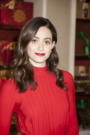 tots: New York, NY, USA - November 30, 2015: Actress Emmy Rossum attends GODIVAs kick-off to HOT CHOCOLATE FOR A CAUSE, benefiting Toys for Tots foundation at  GODIVA Chocolatier 650 5th Avenue, Manhattan Editorial