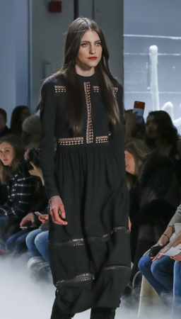 miller: New York, NY, USA - February 12, 2016: A model walks the runway at the Nicole Miller runway show during of FallWinter 2016 New York Fashion Week at The Gallery, Skylight Clarcson Sq., Manhattan. Editorial