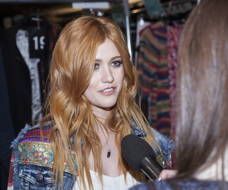 katherine: New York, NY, USA - February 11, 2016: Actress Katherine McNamara poses backstage at the Desigual runway show during of Fall 2016 New York Fashion Week at The Arc, Skylight at Moynihan Station, Manhattan.