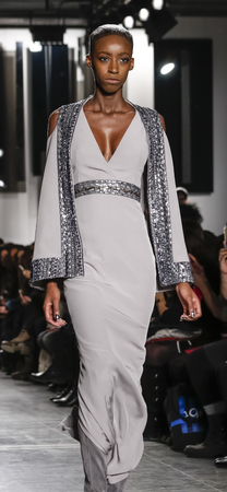 stage make up: New York, NY, USA - February 12, 2016: A model walks runway at Pamella Roland runway show during of FallWinter 2016 New York Fashion Week at Pier 59, Manhattan.