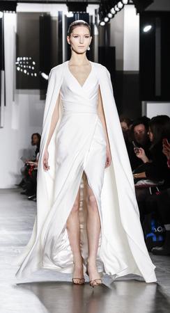 New York, NY, USA - February 12, 2016: A model walks runway at Pamella Roland runway show during of Fall/Winter 2016 New York Fashion Week at Pier 59, Manhattan. 報道画像