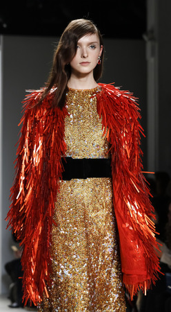 New York, NY, USA - February 14, 2016: A model walks the runway at  Jenny Packham runway show during of Fall/Winter 2016 New York Fashion Week at The Gallery, Skylight Clarcson Sq., Manhattan.