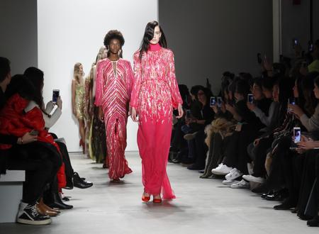 jenny: New York, NY, USA - February 14, 2016: Models walk the runway at  Jenny Packham runway show during of FallWinter 2016 New York Fashion Week at The Gallery, Skylight Clarcson Sq., Manhattan.