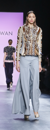 jung: New York, NY, USA - February 13, 2016: Alexandra Agostonl walks runway at the Son Jung Wan runway show during of FallWinter 2016 New York Fashion Week at The Dock, Skylight at Moynihan Station, Manhattan.
