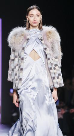 jung: New York, NY, USA - February 13, 2016: Alexandra Agoston walks runway at the Son Jung Wan runway show during of FallWinter 2016 New York Fashion Week at The Dock, Skylight at Moynihan Station, Manhattan. Editorial