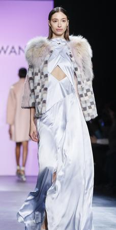 alexandra: New York, NY, USA - February 13, 2016: Alexandra Agoston walks runway at the Son Jung Wan runway show during of FallWinter 2016 New York Fashion Week at The Dock, Skylight at Moynihan Station, Manhattan. Editorial