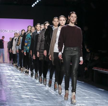 jung: New York, NY, USA - February 13, 2016: Models walk the runway rehearsal at the Son Jung Wan runway show during of FallWinter 2016 New York Fashion Week at The Dock, Skylight at Moynihan Station, Manhattan.