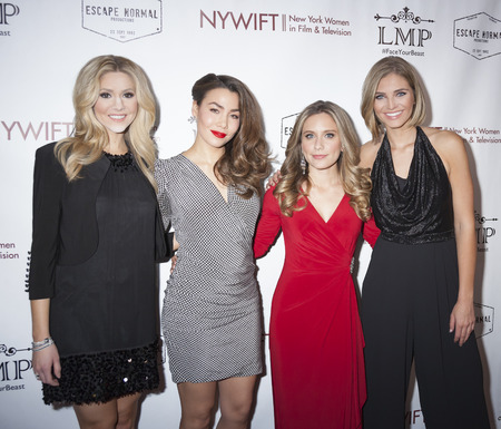olivia: New York, NY, USA - March 4, 2016: Kirsten Haglund, Sharleen Joynt, Marlee Roberts and Olivia Caridi attend the Little Miss Perfect New York special screening at DGA Theater, Manhattan.