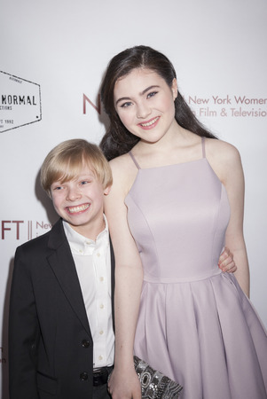 lilla: New York, NY, USA - March 4, 2016: Actor Graham Montgomery and actress Lilla Crawford attend the Little Miss Perfect New York special screening at DGA Theater, Manhattan.
