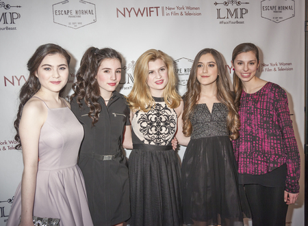 lilla: New York, NY, USA - March 4, 2016: Lilla Crawford, Eden Wright, Charlie Swan, Karlee Roberts and Gabriella Scerbo attend the Little Miss Perfect New York special screening at DGA Theater, Manhattan.