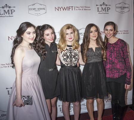 roberts: New York, NY, USA - March 4, 2016: Lilla Crawford, Eden Wright, Charlie Swan, Karlee Roberts and Gabriella Scerbo attend the Little Miss Perfect New York special screening at DGA Theater, Manhattan.