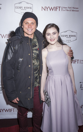 lilla: New York, NY, USA - March 4, 2016: Actor Billy Magnussen and actress Lilla Crawford attend the Little Miss Perfect New York screening at DGA Theater, Manhattan. Editorial