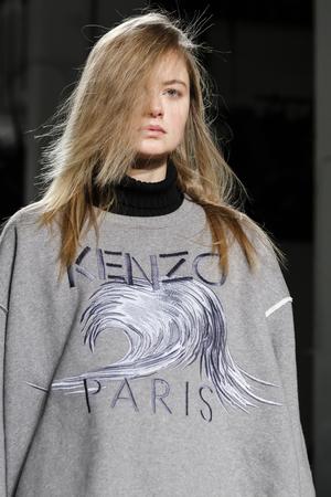 jenny: New York, NY, USA - February 14, 2016: A model walks runway rehearsal at  Jenny Packham runway show during of FallWinter 2016 New York Fashion Week at The Gallery, Skylight Clarcson Sq., Manhattan.