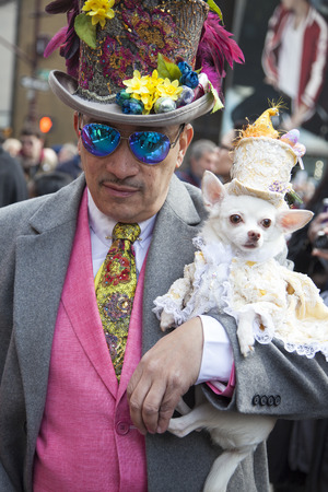religious clothing: New York, NY, USA - March 27, 2016: Anthony Rubio attends 2016 New York Easter Parade and Bonnet Festival on 5th Avenue, Manhattan.
