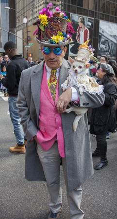 New York, NY, USA - March 27, 2016: Anthony Rubio attends 2016 New York Easter Parade and Bonnet Festival on 5th Avenue, Manhattan.