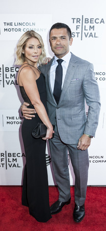 New York, NY, USA - April 15, 2016: Kelly Ripa and Mark Consuelos attend the All We Had premiere during the 2016 Tribeca Film Festival at the John Zuccotti Theater at BMCC Tribeca Performing Arts Center