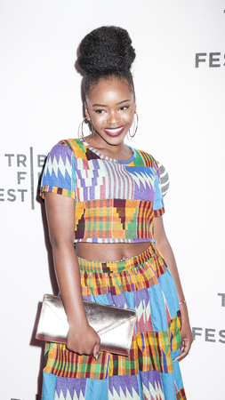 New York, NY, USA - April 20, 2016: Actress Lovie Simone attends the Greenleaf premiere during the 2016 Tribeca Film Festival at the John Zuccotti Theater at BMCC Tribeca Performing Arts Center Editorial
