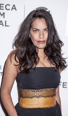film festival: New York, NY, USA - April 20, 2016: Actress Sarita Choudhury attends the A Hologram For The King premiere during the 2016 Tribeca Film Festival at the John Zuccotti Theater at BMCC Tribeca Performing Arts Center Editorial