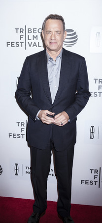film festival: New York, NY, USA - April 20, 2016: Actor Tom Hanks attends the A Hologram For The King premiere during the 2016 Tribeca Film Festival at the John Zuccotti Theater at BMCC Tribeca Performing Arts Center