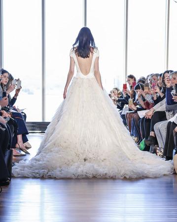 New York, NY, USA - April 15, 2016: A model walks runway for RIVINI & Alyne Spring 2017 Bridal Collection by Rita Vinieris at The Standart, High Line during New York International Bridal week, Manhattan Editorial