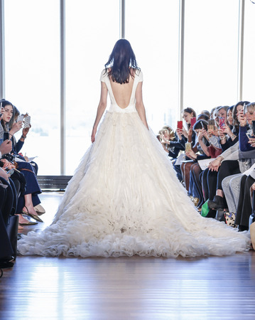 New York, NY, USA - April 15, 2016: A model walks runway for RIVINI & Alyne Spring 2017 Bridal Collection by Rita Vinieris at The Standart, High Line during New York International Bridal week, Manhattan Editorial