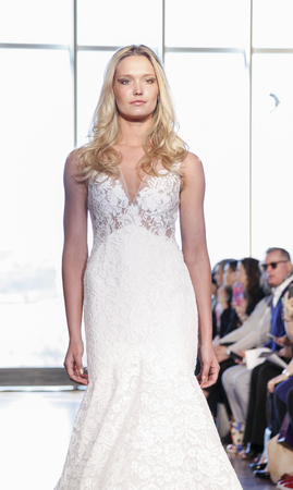 april 15: New York, NY, USA - April 15, 2016: A model walks runway for RIVINI & Alyne Spring 2017 Bridal Collection by Rita Vinieris at The Standart, High Line during New York International Bridal week, Manhattan Editorial