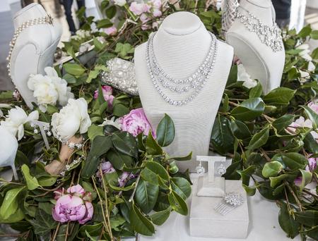 craig: New York, NY, USA - April 13, 2016: Jewelry on display for Marchesa SpringSummer 2017 Bridal Presentation at Canoe Studio, Manhattan Editorial