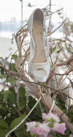 craig: New York, NY, USA - April 13, 2016: Marchesa shoes on display for Marchesa SpringSummer 2017 Bridal Presentation at Canoe Studio, Manhattan