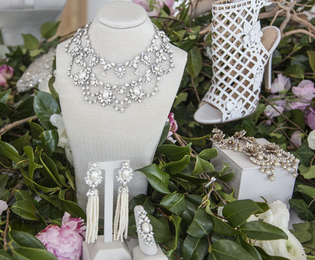 chapman: New York, NY, USA - April 13, 2016: Jewelry on display for Marchesa SpringSummer 2017 Bridal Presentation at Canoe Studio, Manhattan Editorial