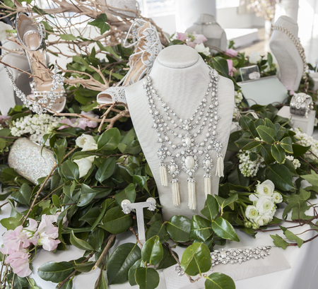 georgina: New York, NY, USA - April 13, 2016: Jewelry on display for Marchesa SpringSummer 2017 Bridal Presentation at Canoe Studio, Manhattan Editorial