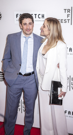 New York, NY, USA - April 13, 2016: Actors Jason Biggs and Jenny Mollen attend the 2016 Tribeca Film Festival opening night world premiere of The First Monday In May at John Zuccotti Theater at BMCC Tribeca Performing Arts Center Editorial