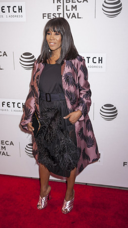 film festival: New York, NY, USA - April 13, 2016: Stylist June Ambrose attends the 2016 Tribeca Film Festival opening night world premiere of The First Monday In May at John Zuccotti Theater at BMCC Tribeca Performing Arts Center