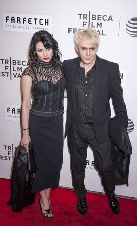 nick: New York, NY, USA - April 13, 2016: Musician Nick Rhodes (R) attends the 2016 Tribeca Film Festival opening night world premiere of The First Monday In May at John Zuccotti Theater at BMCC Tribeca Performing Arts Center Editorial