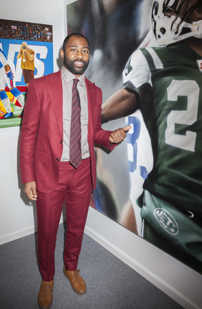 super bowl: New York, NY, USA - May 3, 2016: Seven-time Pro Bowl Selection and Super Bowl Champion Darrelle Revis (#24) attends VIP preview at the Art New York, CONTEXT New York, Pier 94, Manhattan
