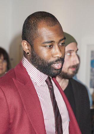 super bowl: New York, NY, USA - May 3, 2016: Seven-time Pro Bowl Selection and Super Bowl Champion Darrelle Revis  attends VIP preview at the Art New York, CONTEXT New York, Pier 94, Manhattan
