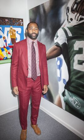 New York, NY, USA - May 3, 2016: Seven-time Pro Bowl Selection and Super Bowl Champion Darrelle Revis  attends VIP preview at the Art New York, CONTEXT New York, Pier 94, Manhattan