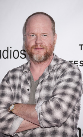 screenwriter: New York, NY, USA - April 18, 2016: American screenwriter, film and television director, film and television producer, comic book author, and composer Joss Whedon attends Tribeca Talks Directors Series: Joss Whedon with Mark Ruffalo during the 2016 Tribec