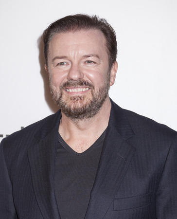 film festival: New York, NY, USA - April 22, 2016: Writer, director and actor Ricky Gervais attends the Special Correspondents premiere during the 2016 Tribeca Film Festival at the John Zuccotti Theater at BMCC Tribeca Performing Arts Center, NYC